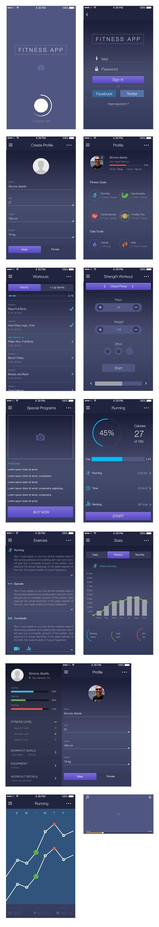 Free Fitness App UI Kit .PSD