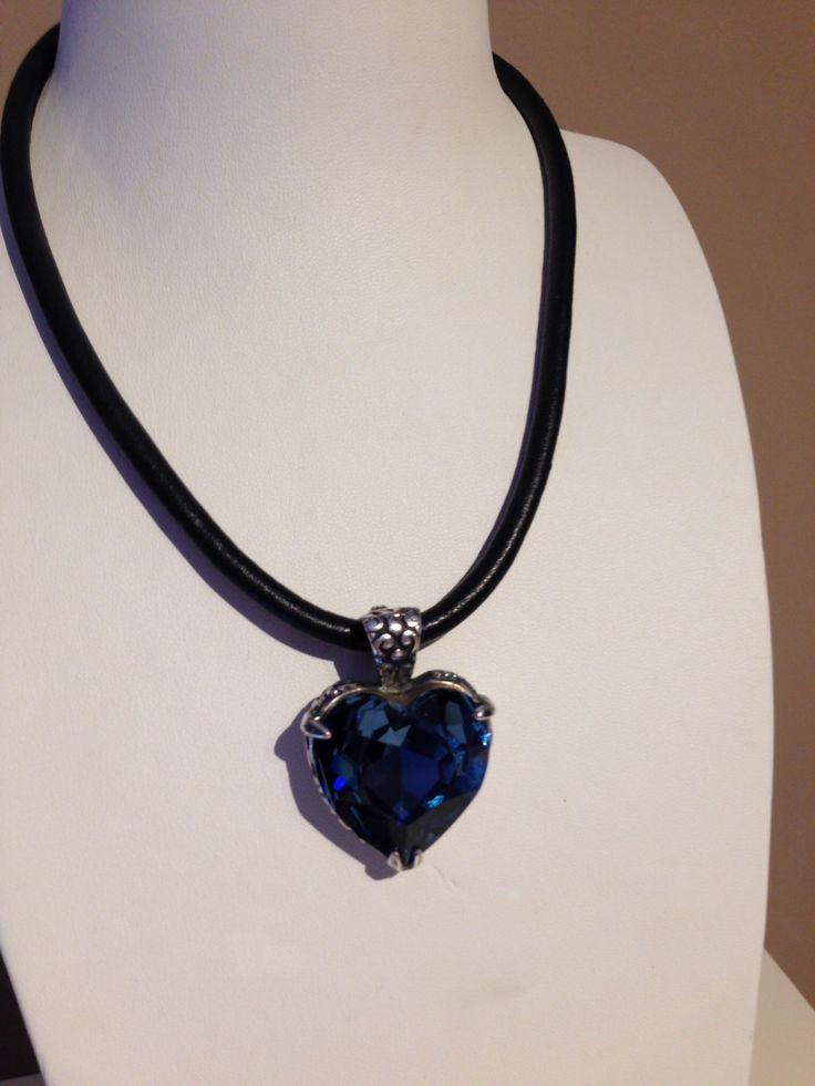 Bermuda blue heart on black leather from Miglio www.miglio.co.uk/mandyholmes