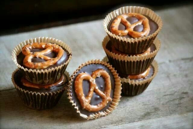 Peanut butter cups with pretzels