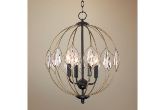 Prentiss 16-Inch-W Matte Black and Antique Brass Chandelier - #EU9J693 - Euro Style Lighting