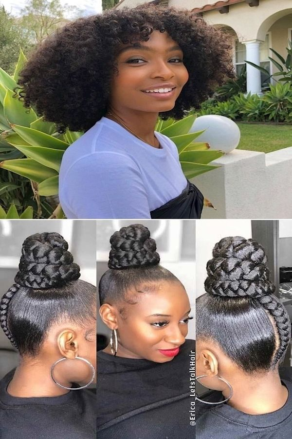 Short Natural Hairstyles For Black Women Prom Hairstyles For Black Girls Natural Black In 2020 Natural Hair Styles Headwrap Hairstyles Black Women Prom Hairstyles