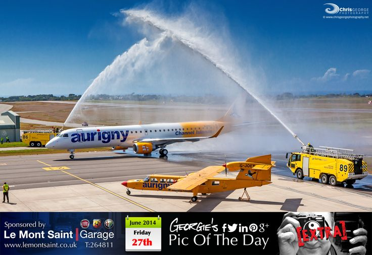 When JOEY met G-NSEY! Historic day for the Bailiwick's own airline Aurigny #MyGuernsey #LoveGuernsey http://chrisgeorgephotography.dphoto.com/#/album/cbc2cr/photo/24453585 Picture Ref: 27_06_14b — at Guernsey Airport.