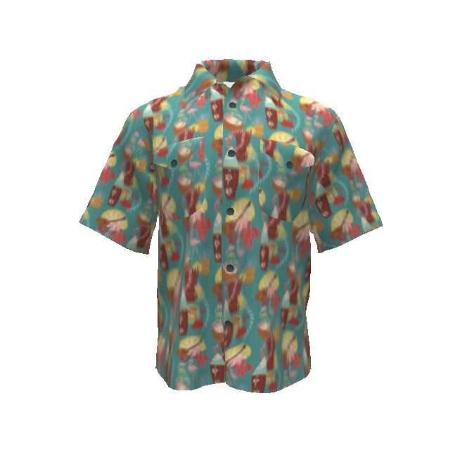 Colette Patterns Negroni Shirt made with Spoonflower designs on Sprout Patterns. Perfect for a Hawaiian shirt inspired by those island memories of yesteryear.