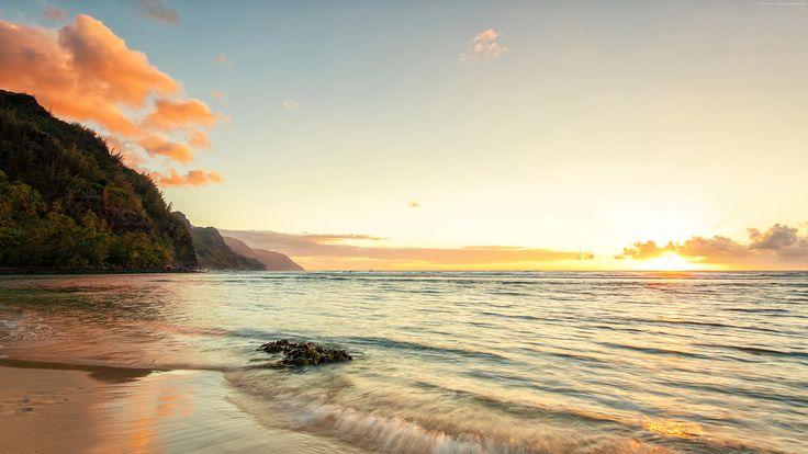 cool Sea sunset view 4k Wallpaper