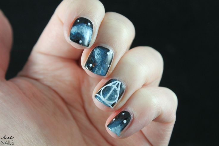 Nerdic Nails. Harry Potter and the Deathly Hallows galaxy nail art.