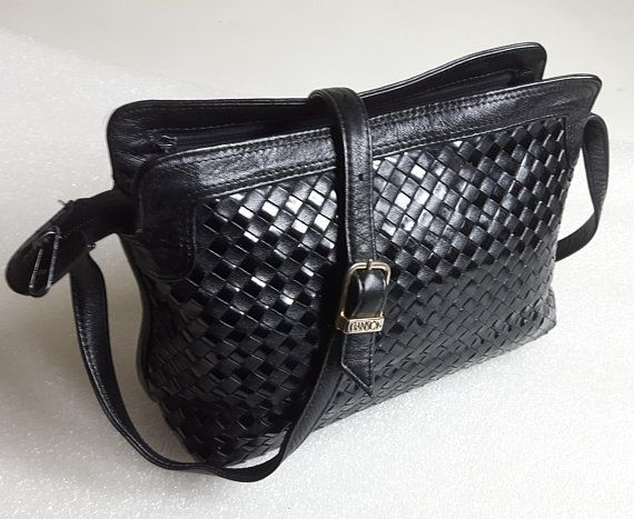 Authentic vintage GANSON San Francisco buttery soft Woven Glossy Patent and Genuine Black Leather Multi Compartment Crossbody / Shoulder Bag