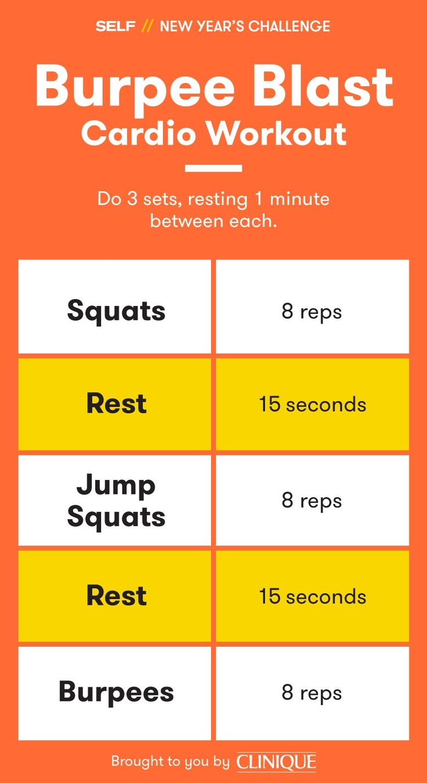 SELF New Year's Challenge - Burpee Blast Cardio Workout #TeamSELF #NewYearsChallenge