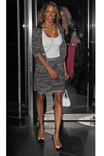 Inspite of the politics, one thing we can all agree on is how chic Stacey Dash's Chanel style skirt suit and Louboutin cap-toe platforms are. She's pictured here in New York City.
