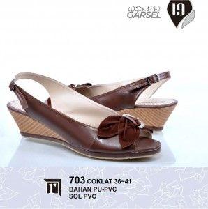 Jual Sandal Wedges Murah Online Trendy warna coklat