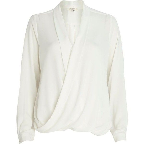 River Island Cream wrap blouse featuring polyvore, fashion, clothing, tops, blouses, shirts, cream, sale, white loose blouse, white blouse, wrap top, shirts & blouses and white wrap top