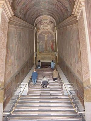 Scala Sancta or The Holy Stairs in Rome, Italy.  These are claimed to be the stairs Jesus climbed up to Pontius Pilate.  Across the street is a beautiful basilica; St. John Lateran.