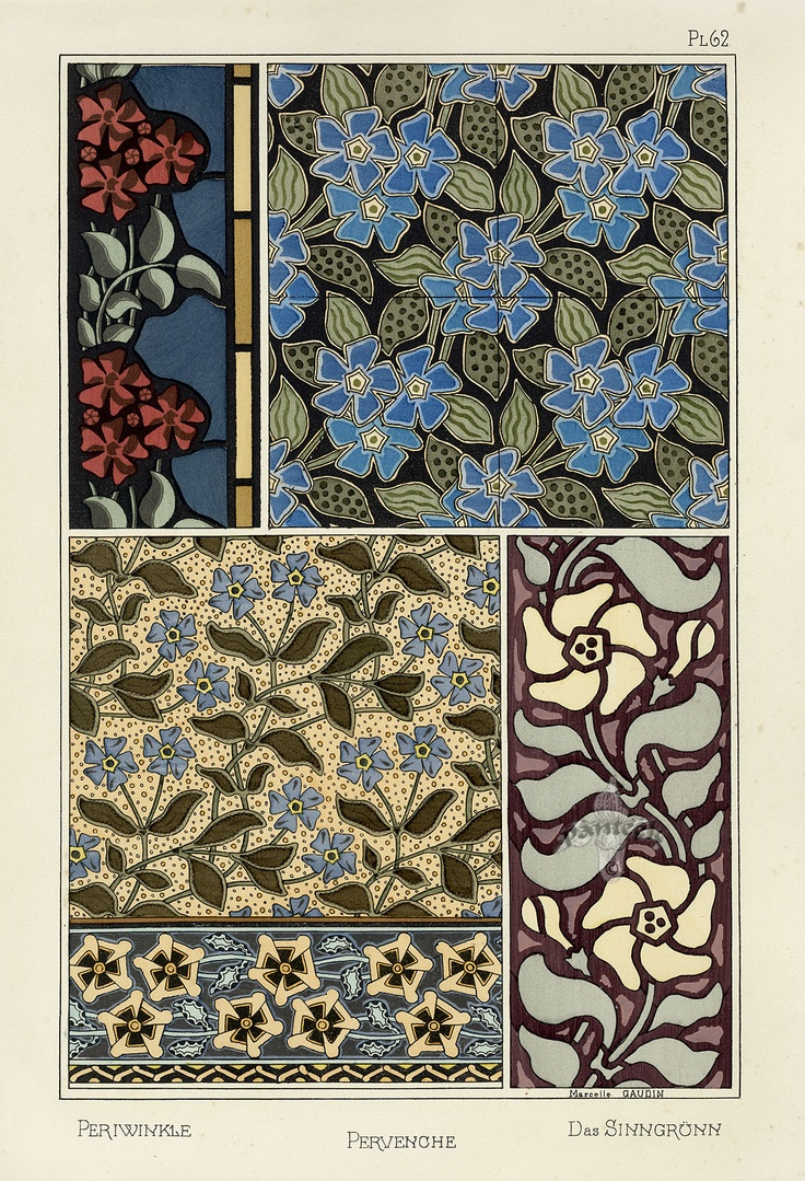 Eugene Grasset Pochoir Prints 1896 -- I like the colours of the very first one, and the contrast.