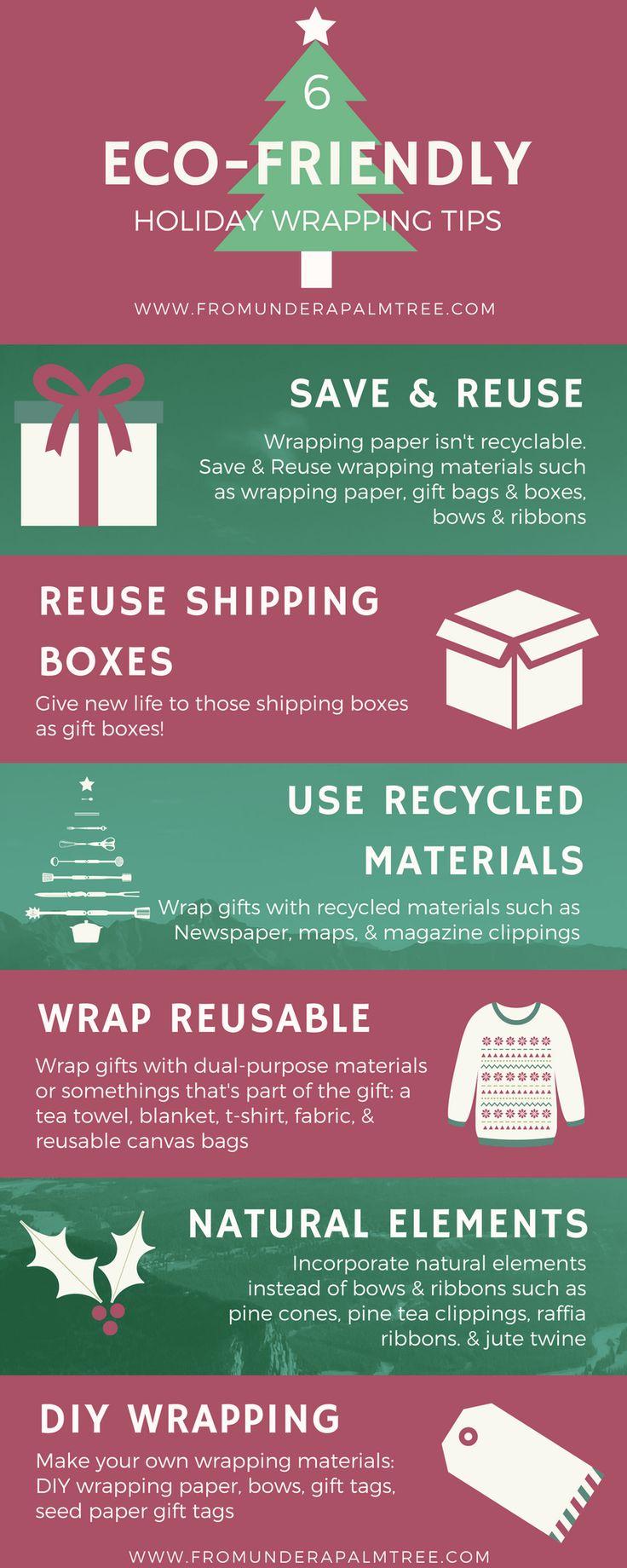 6 Eco-Friendly Holiday Tips | Green Christmas | Eco-friendly gift wrapping | Eco-friendly | Gift wrapping tips | Green gifts | sustainable christmas | sustainable holidays | Green Holidays | Gift wrapping | wrapping presents |