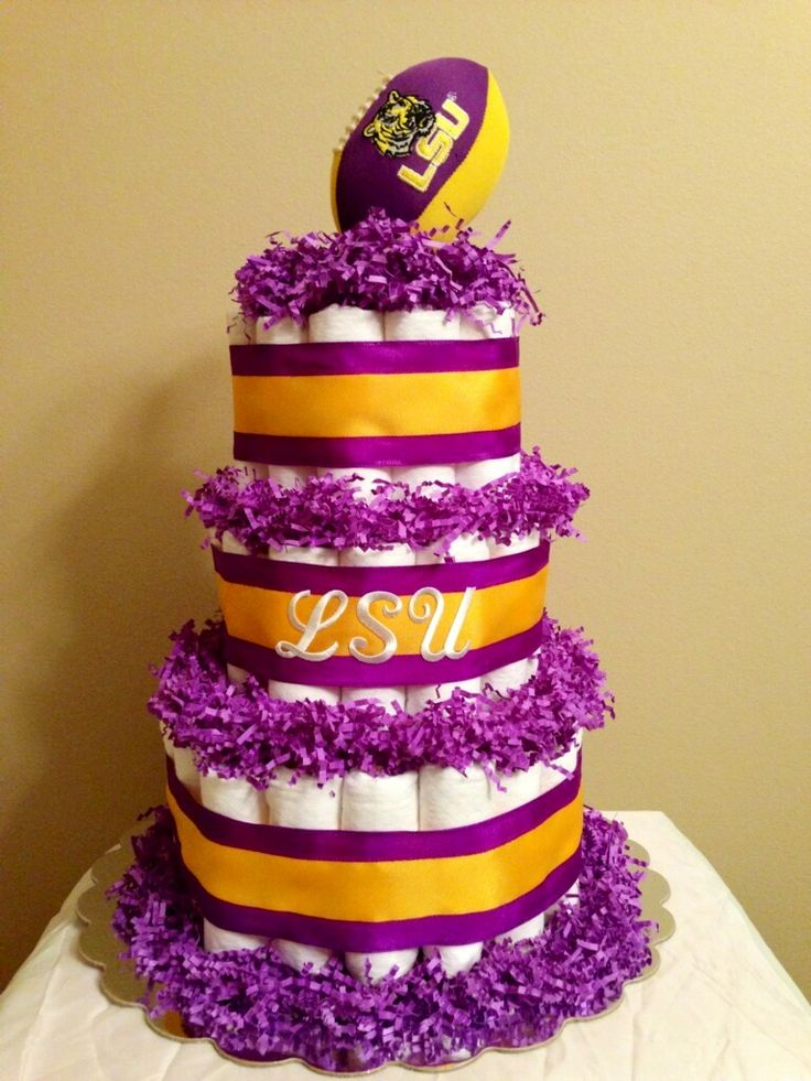3 Tier Diaper Cake with talking football that plays fight song only $90.00  By: Nic's Diaper Cakes @  nicsdiapercakes@yahoo.com