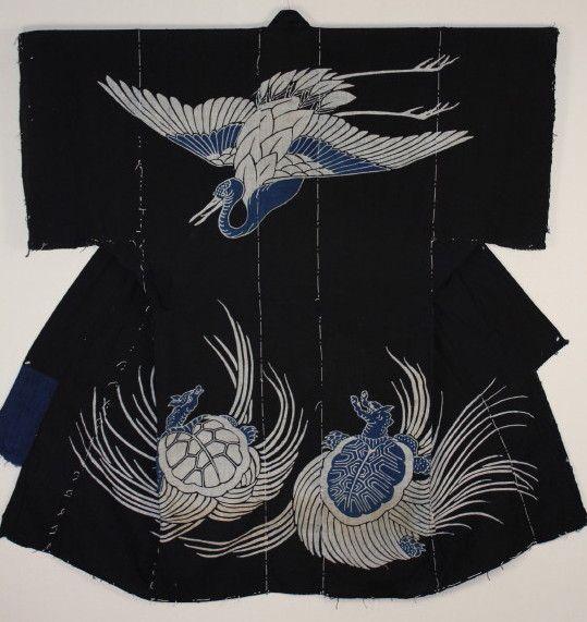 古布 木綿 筒描き 夜着 幟  Tsutsugaki Yogi Cotton Japanese antique textile : 京都から古布のご紹介