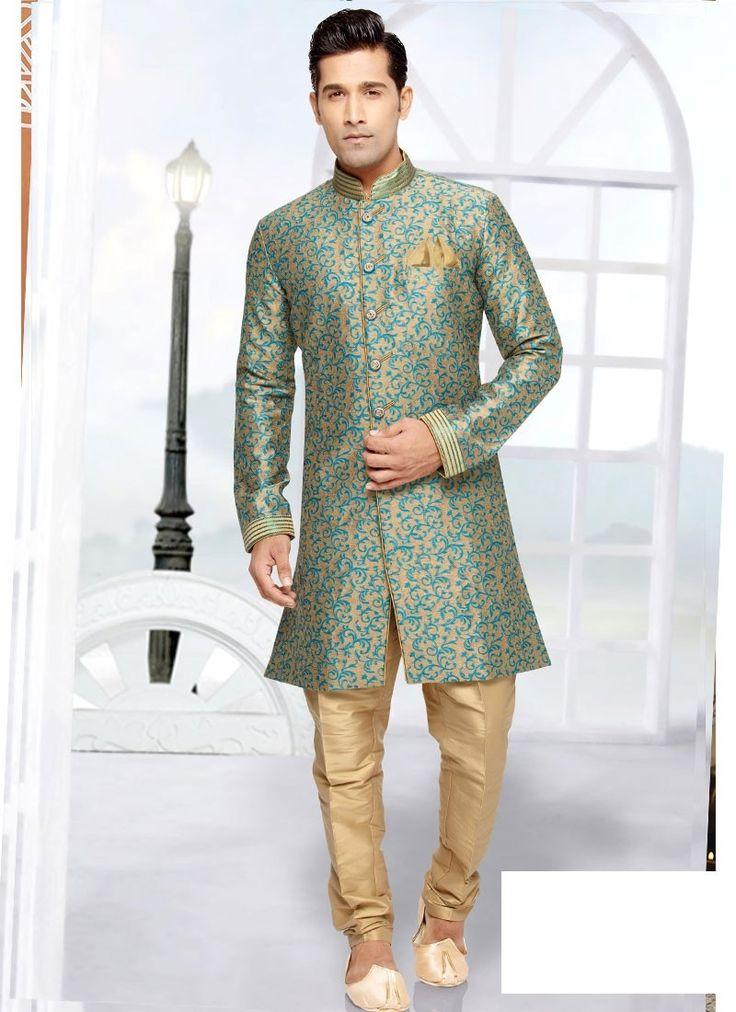 Shop Online Beige Jaquard Art Silk #MensSherwani @Chennaistore.com