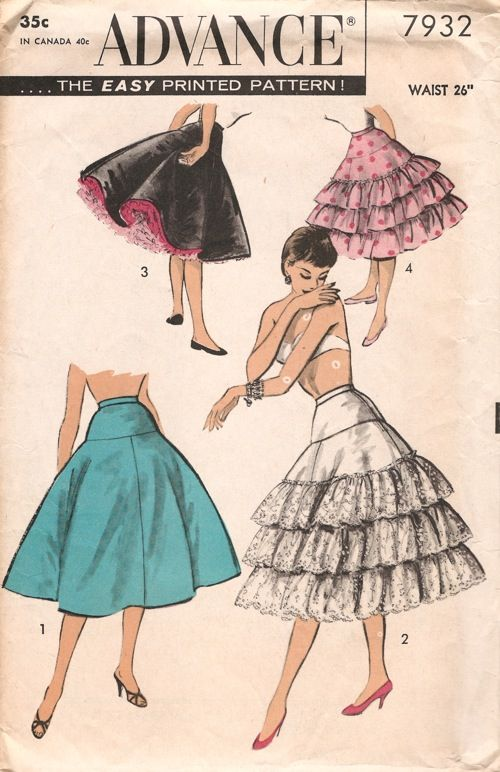 Advance 7932; ca. mid to late 1950s; Misses' Petticoat. Hip-yoked petticoat, waistband, side zipper. (1) Plain petticoat, all one fabric. Optional lining from yoke down. (2) Ruffled version ... three wide ruffles, tiered, of novelty edging. (3) Plain petticoat plus two under-petticoats (both under-petticoats have three self-ruffles, tiered). Make each layer in a different color! (4) Petticoat with self-ruffles, three tiers. I am so in love.  Especially the slutty ChaCha DiGregorio black with…
