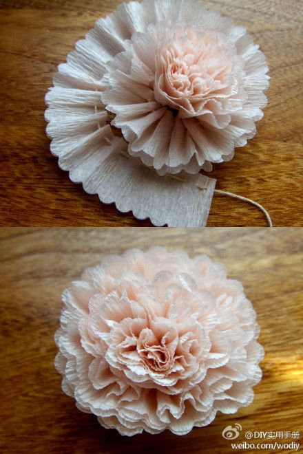 Crepe paper flower! One long strip of crepe paper + needle and thread = giant bouffley goodness.