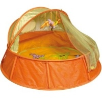 Orange Babymoov Babyni - Safely Combine Sleep and Play!   Functions as a travel cot and playpen -Anti-UV Coating 50+ -Pop Up System: easy to assemble and dismantle -Accessories: comfy removable mattress; canopy; mosquito net; 2 removable toys; travel bag