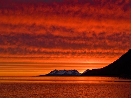 Red sunset in Norway at midnight.  Jeg elsker dette landet!