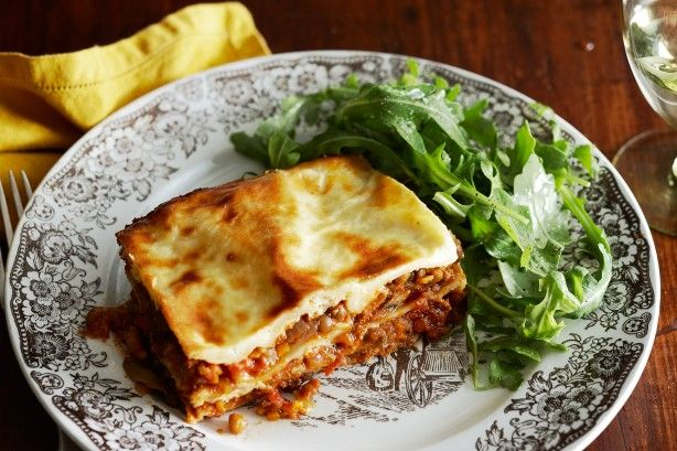 Nutty lentils add texture and flavour to this protein-rich vegetable lasagne.