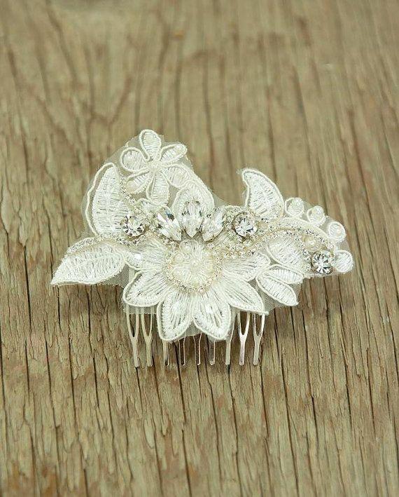 vintage Ivory head piece, Fascinator bridal hair comb,lace wedding hair comb ,wedding hair accessories ,sparkle ,Rhinestones