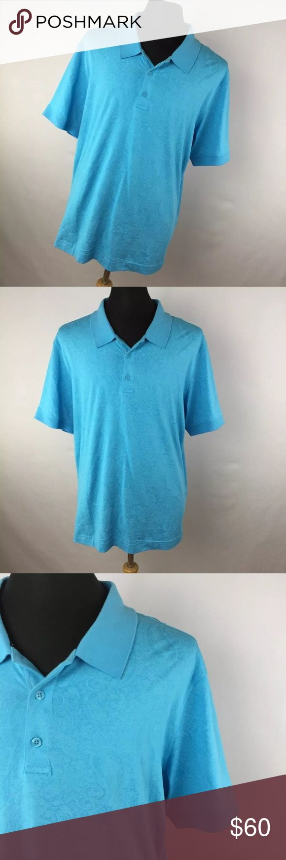 "New Robert Graham 2XL XXL Shirt Pebbles Aqua Blue New Robert Graham 2XL XXL Shirt Pebbles Aqua Blue Paisley Men's Short Sleeve. New without tags. Smoke free home. Chest measurement  - 50"" Length measurement - 31"" Robert Graham Shirts Polos"