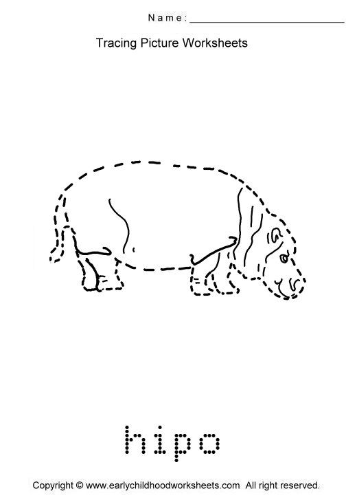 Trace Animals Images As To Print This Worksheet Click Tracing Picture Worksheets
