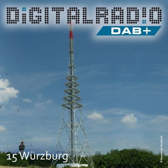 """(15) Würzburg/Unterfranken * Standort auf der sogenannte Frankenwarte (359 m) südwestlich der Würzburger Innenstadt * 125 m hoher Stahlgitterturm wurde 2010 eingeweiht und trägt aufgrund seiner Konstruktion den Spitznamen """"kleiner Eiffelturm"""" * BDR mit DAB seit März 2000 auf der Station on air *"""