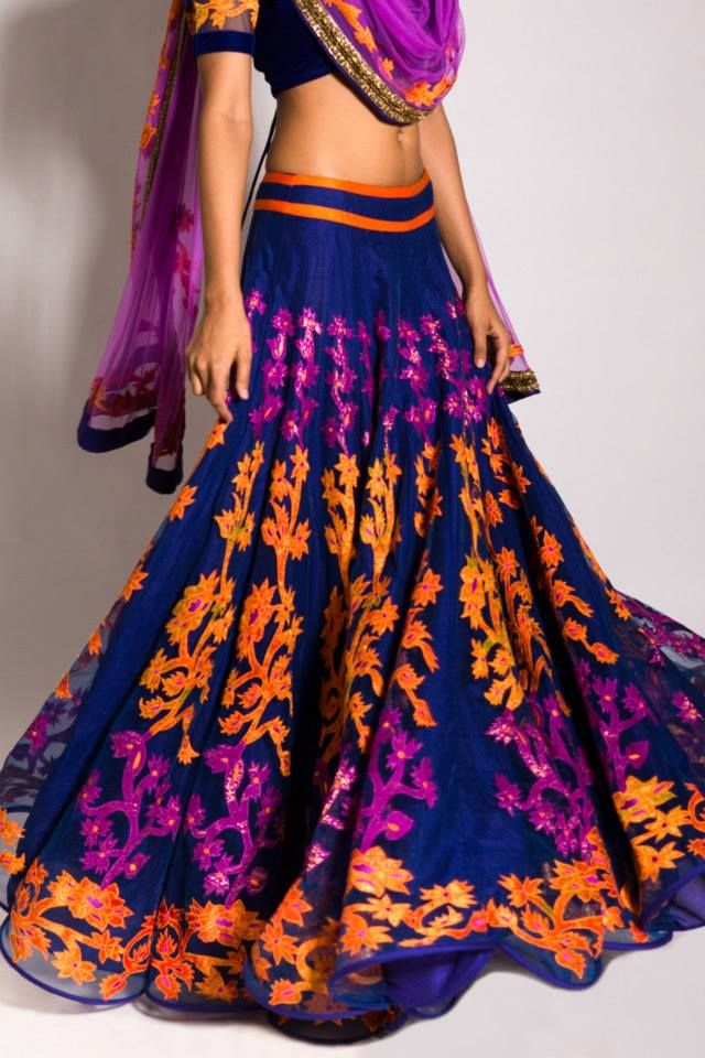 Blue, orange, and purple lengha by Neeta Lulla