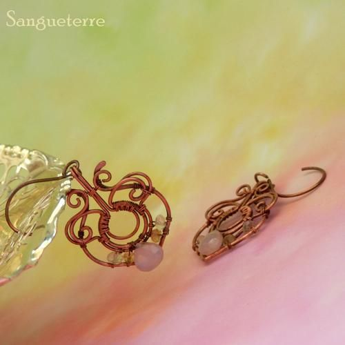 Cadrill * rosehip earrings * wirewrapping * wirewrapped * jewelry * copper * romantic * fantasy * fairy * elf * victorian * art nouveau * handmade