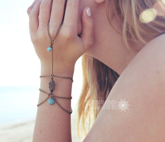 Slave Bracelet Bronze Chain Turquoise Stones Bronze Leaf Boho Hipster Hand Body Jewelry Bohemian Style