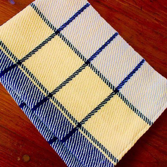 Hand Woven Towel Kitchen Dish Handwoven Yellow Navy Blue Linen