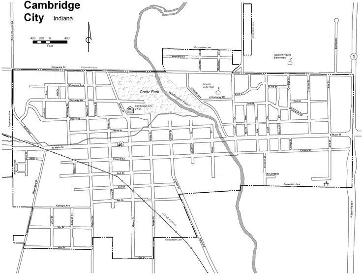 Map of Cambridge City Indiana   Map of Cambridge City, Indiana.