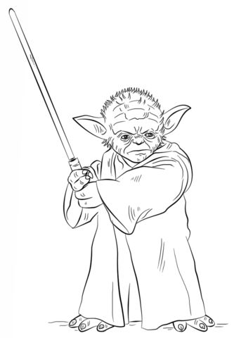 Yoda with lightsaber Coloring page from Star Wars category