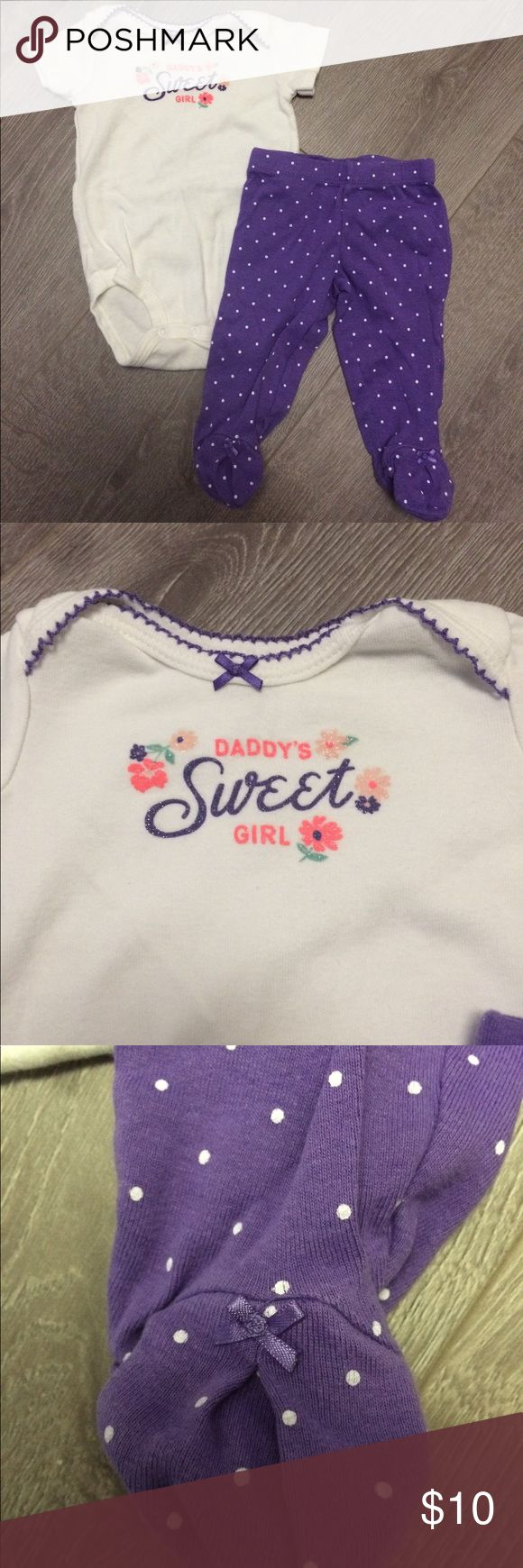 Carters Daddys sweet girl outfit 3 months Super cute outfit for a 3 month old baby girl. Onesie says daddy's girl. Pants have footies attached. Excellent used condition. The brand is Carters, size 3 Months Carter's Matching Sets