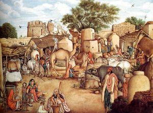 A Village Scene In The Punjab  Gulam Ali Khan