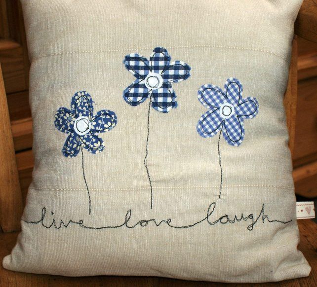 spring - Embroidered applique cushions - love, home is where the heart is, valentine