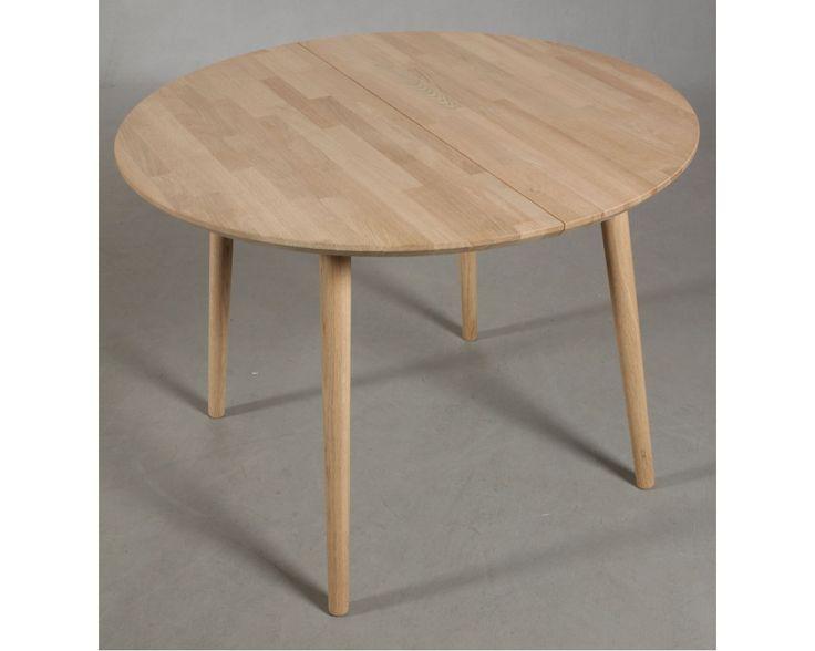 LUMBER - Rundt spisebord med 1 tillægsplade, massiv eg.