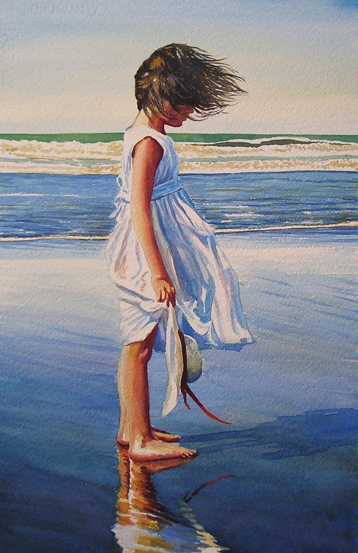Original water colour of Millie on the beach ,Titled Sea breeze
