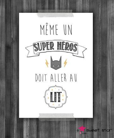 """Affiche qualité Photo """"Même un super héros doit aller au lit"""" à accrocher ou encadrer dans la chambre de votre enfant.  Tons gris, noir, doré.  Format: 21 x 29,7 cm Impre - 17482767"""