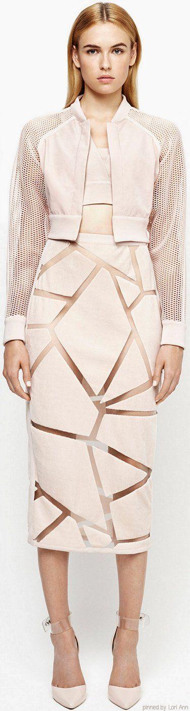 Jonathan Simkhai Spring 2015 RTW. Geometric petal pink