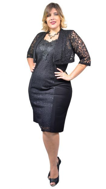 Vestido Longuete Plus Size Festa Renda e Malha com Bolero – Moda Maior Plus  Size 36bde96d3071