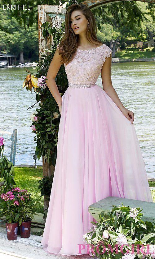 Image of Sherri Hill beaded-lace bodice long v-back dress. Style: SH-50041 Front Image