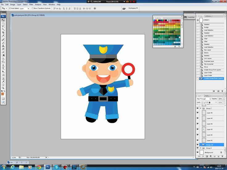 Illustrating drawing painting - cartoon policeman - rysowanie