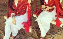 Cute Girl in White and Red Collage Latest Dp Pic for Fb