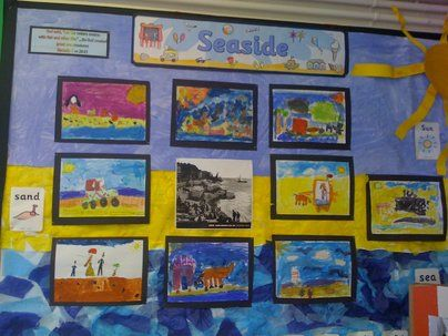 Seaside Display, classroom display, class display, Places, place, sand, sun, beach, holiday, pier, seaside, Early Years (EYFS), KS1  KS2 Primary Resources