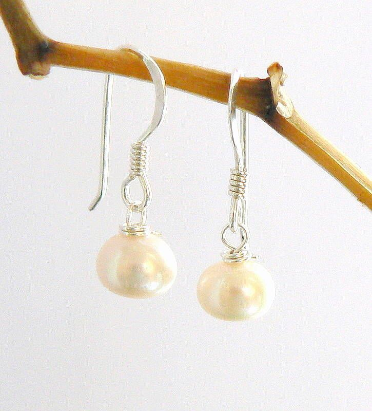 button freshwater pearl earrings by clutch and clasp | notonthehighstreet.com £8.00