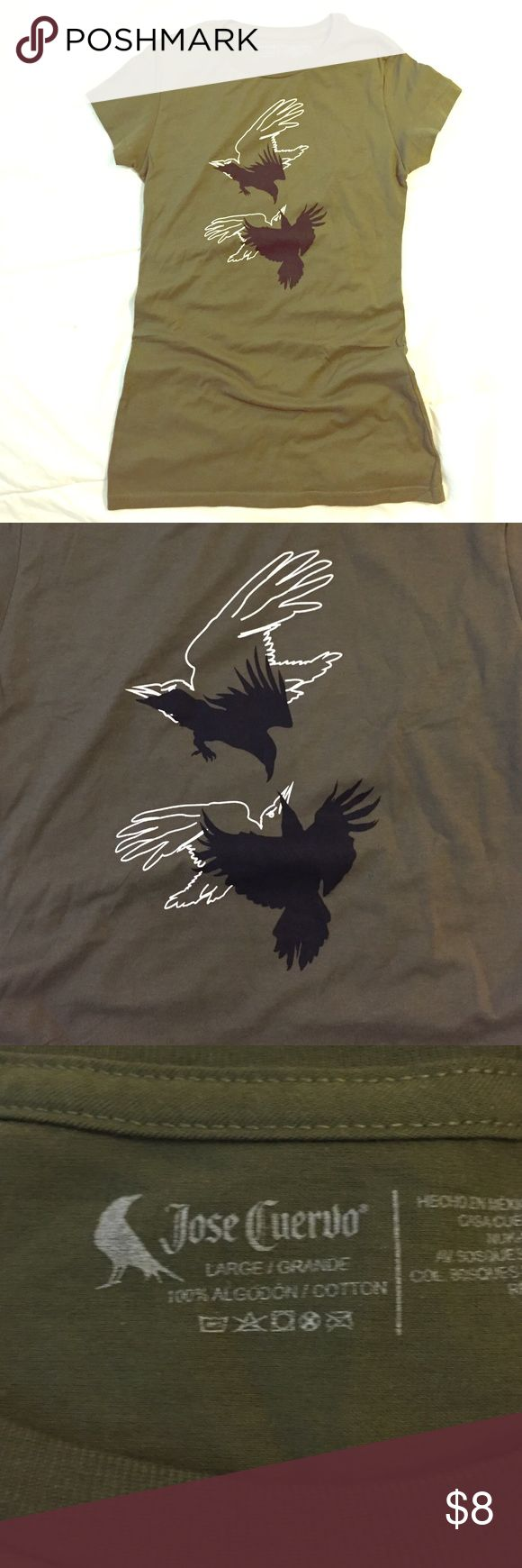 Jose Cuervo bird t-shirt Jose Cuervo graphic black bird fitted tee. 100% cotton. Never worn. jose cuervo Tops Tees - Short Sleeve