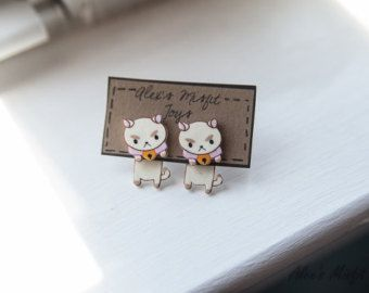 Kawaii Pokemon Skitty Clinging Earrings by AlexsMisfitToys on Etsy